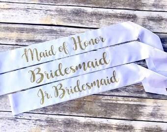 5 Group Bridesmaids Sashes, Bachelorette Party Sashes, Gold Glitter Sashes