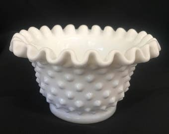 Beautiful Fenton Hobnail White Milk Glass Fluted Small Bowl