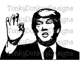President Donald Trump cut file (.svg, .dxf, .eps, .studio3, .jpeg) for Silhouette, cricut, and various other machines