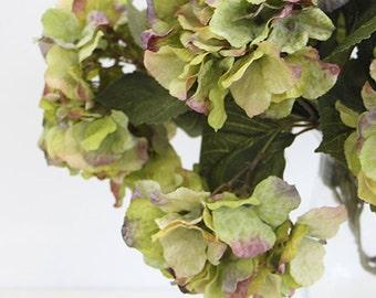 """Luxury Silk 5 Hydrangea Bloom Bush in Green 21"""" Tall"""