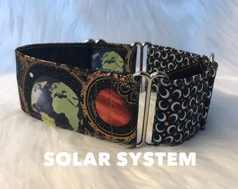 Solar system two tone martingale: plant dog collar, moon dog collar