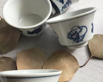 Japanese vintage chawan ,  'sencha' teacup , sake cup  ,  set of 4