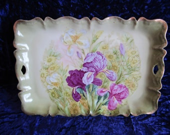 Antique Hand Painted Bavarian Dresser Tray