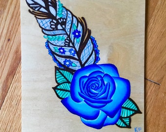 Feather rose painting with wood burning