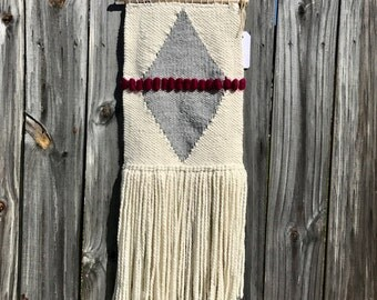 Berry + Gray Woven Wall Hanging