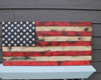 Rustic United States Wooden Flag with Painted Stars