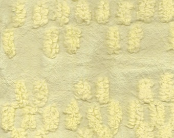 Yellow Chenille With Flowers BY THE YARD