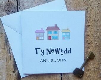 Ty Newydd - welsh new house card - personalised new house card - personalised name card - welsh card - Handmade card - moving house