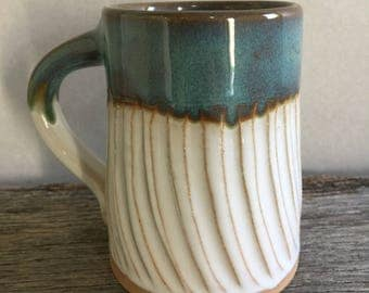 Handmade Turquoise and White Fluted Coffee Mug