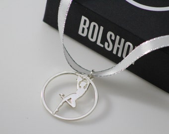 Ballet Dancer pendant ,  ballerina jewelry necklace on pointe , plie , serving coffee  , 925 Sterling Silver ,  circle  jewel ( No chain )