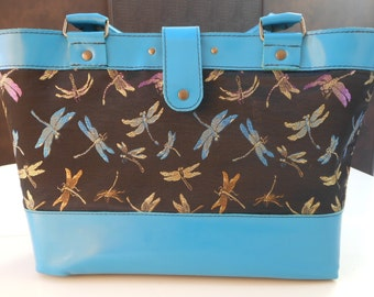 Dragonfly Tote black and turquoise blue, elegant and casual leather interior