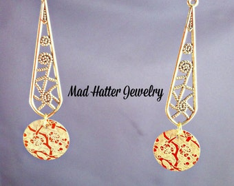 Cherry Blossoms Etched Aluminum on Gold Earrings
