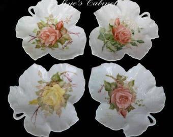 Set of Four Leaf Shaped Dishes,  Vintage Hand Painted Rose Branch Design Plate 1979,  Porcelain Trinket Dishes