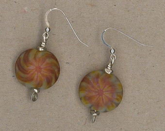 Art Glass and Sterling Silver Earrings Handmade by Chris Hay