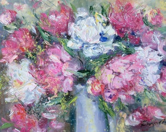 Pink Peonies Painting Original Oil Textured Floral Painting 11 x 14""