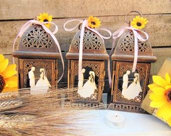 Set of 10 Rustic Country Wedding Lanterns, Moroccan Candle Lanterns,Candle Holders, Sunflower Wedding, Wedding Centerpiece, Barn Wedding