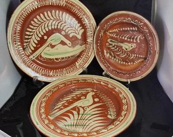 Vintage 1930s Lot of 3 Redware Tlaquepaque Plates Birds