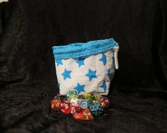 Square Dice Bag - Tile Pouch - White Blue Stars - D&D - RPG - Freestanding - Cotton - Reversible - Drawstring - Handmade - Table Top Gaming