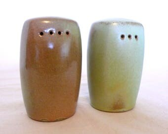 Frankoma Salt and Pepper Shakers---Vintage Pottery---Green Stoneware