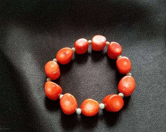 coral and turquoise 8 inch beaded bracelet