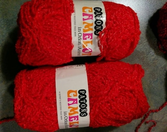 Vintage Lot of Patons Camelot Yarn - 2 Balls- Vibrant Red