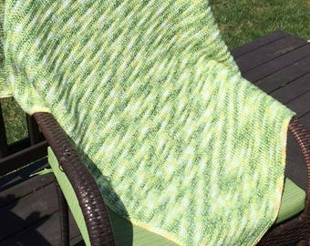 Green and yellow gender neutral baby blanket