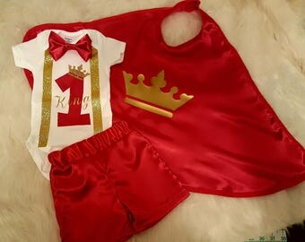 First birthday Outfit, king cape, boys first birthday Outfit, costume cape