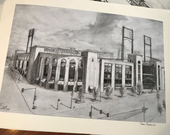 Busch Stadium Print, Home of the St Louis Cardinals. Pencil Drawing