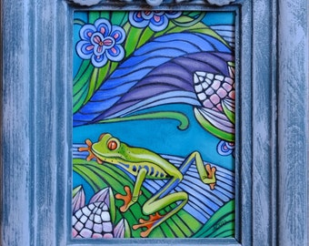 Frog Acrylic Painting (Framed)