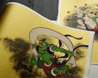 Fujin Raijin - High quality Japanese paper - Washi - Yuzen paper
