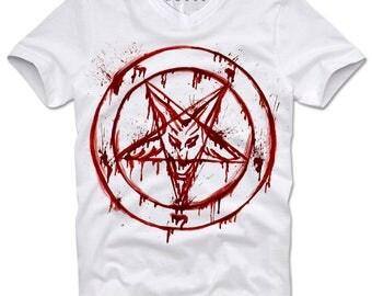 DOPEHOUSE T-Shirt Pentagram Blood Baphomet Horror Goth Gothic Church Of Satan Satanism Anton Lavey