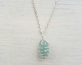 Double swirl turquoise sea glass necklace