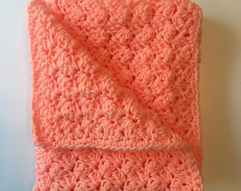Bright Peach Crochet Baby Blanket - Great shower / new baby gift