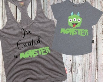 I've Created A Monster- Mother & Son  Matching Iron-on Transfer Printable