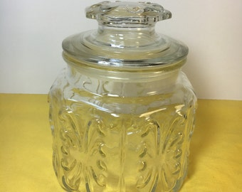 Vintage 6 Sided Clear Glass Canister, Hexagon Apothecary Jar Atterbury Scroll, Kitchen Canister, Glass Collectible, Glassware