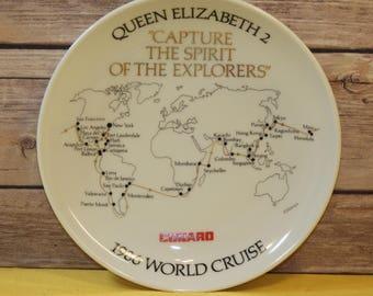 "Vintage Cruise Souvenir Plate,White Queen Elizabeth 2 ""Capture the Spirit of the Explorers"",1986 World Cruise, Cunard Cruise, Studio Linie"