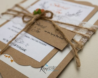 Premium Rustic Wedding Invitations with Save the Date Card and Initials printed on envelope