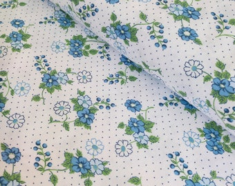 Blue Floral Fabric - Blue Flowers Fabric - Polka Dot Fabric - Blue Quilting Fabric - Fabric By the Yard - Blue and White - Maywood Studio