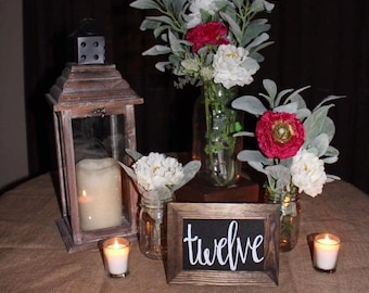 Wooden and Chalkboard Table Numbers