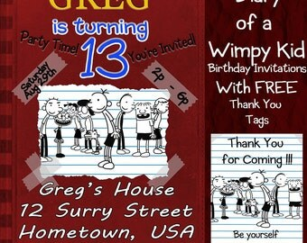 Diary of a Wimpy Kid Birthday Invitation With FREE Thank You Tags - Now with The Long Haul!!