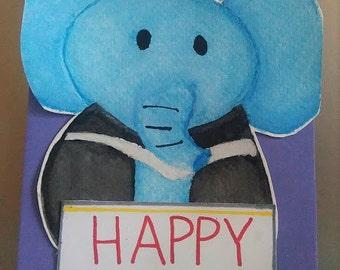 Handmade Birthday Greeting Card, Graduated Elephant, Happy Birthday