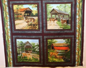 Covered bridge/deer wall hanging/panel/pillow panel set