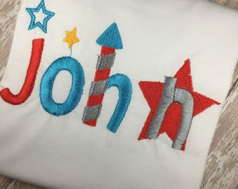 Boys Personalized July 4th Shirt - Boys 4th of July - 4th of July Shirt - Embroidered Shirt - Fireworks Shirt - Independence Day - American