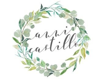 Custom Logo Design for Business Branding. Foliage Wreath Watercolour Logo