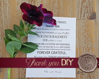 Thank You Card for Printing - Do It Yourself! - Stylish and Customizable with colors and couple photography - Fast Delivery!