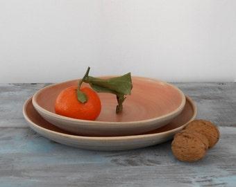 Convex bottom Orange ceramic dish