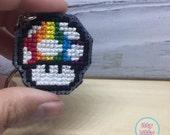 FREE SHIPPING | Super Mario health up mushroom keychain | gaming keychain | custom color keychain | cross stitch keychain | needlepont