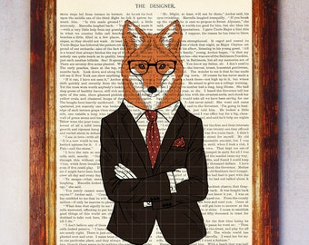 Fox Art Print, Fox with Glasses Print, Fox Wall Art, Book Art Fox Print, Animal Print, Fox Artwork, Fox Poster, Digital Download