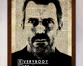 Dr House Art Print, Dr House Wall Art, Book Page Print, Dictionary Page Print, Doctor House Poster, Everybody Lies Dr House, Dr House Poster