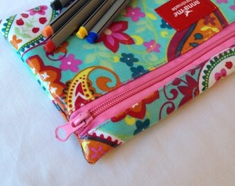 Funky Pencil Bag for Girl, Back to School Ready, Bright Colors Pencil Pouch, Art Pouch for Girl, Gift for Girl, School Accessories, Paisley